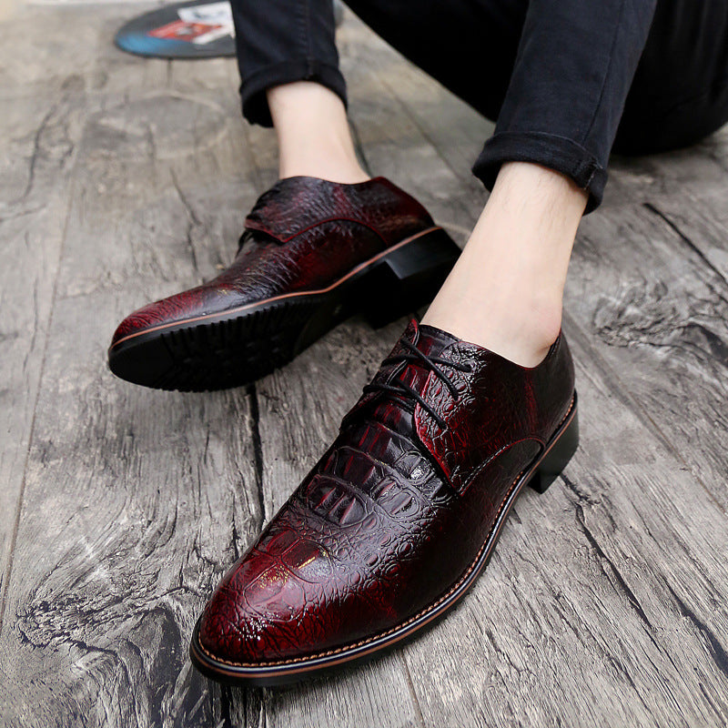 Men's pointy leather shoes business suits men's shoes alligator lace-up increased wedding shoes young British style casual shoes