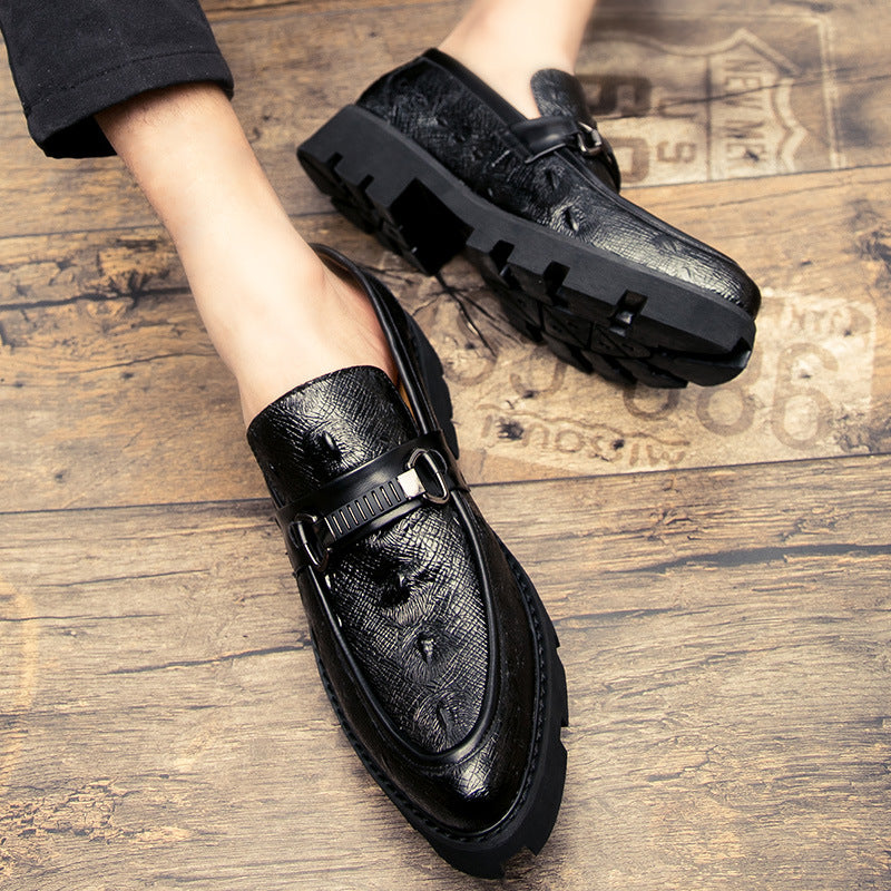 British leather shoes with thick soles and increased interior casual leather shoes for men's suits and all kinds of hairdressers' shoes trend pointy night shoes