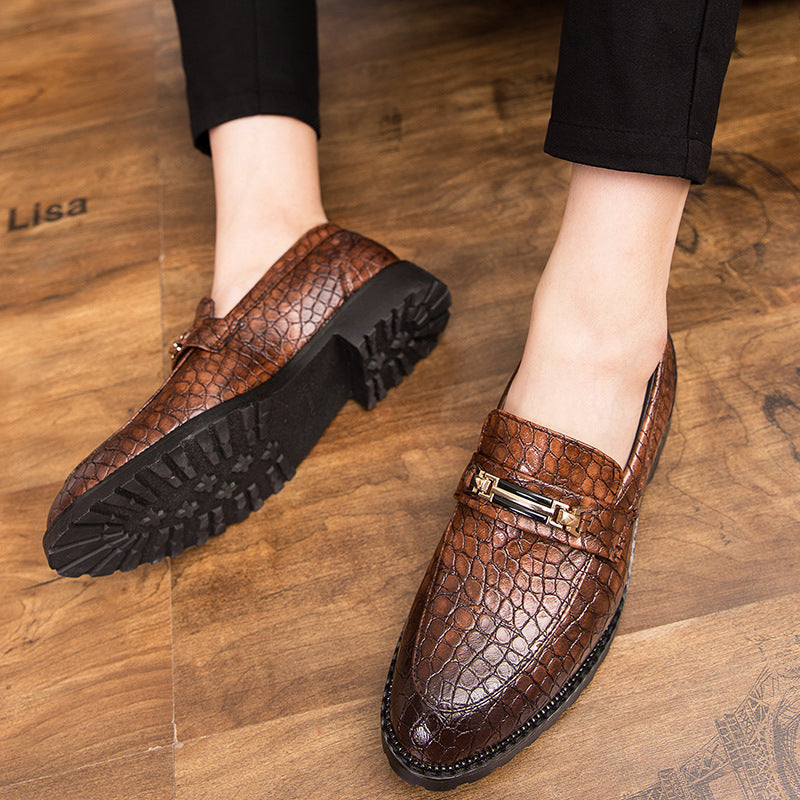 19 autumn new Korean fashion men's casual shoes block men's shoes breathable British business dress leather shoes men