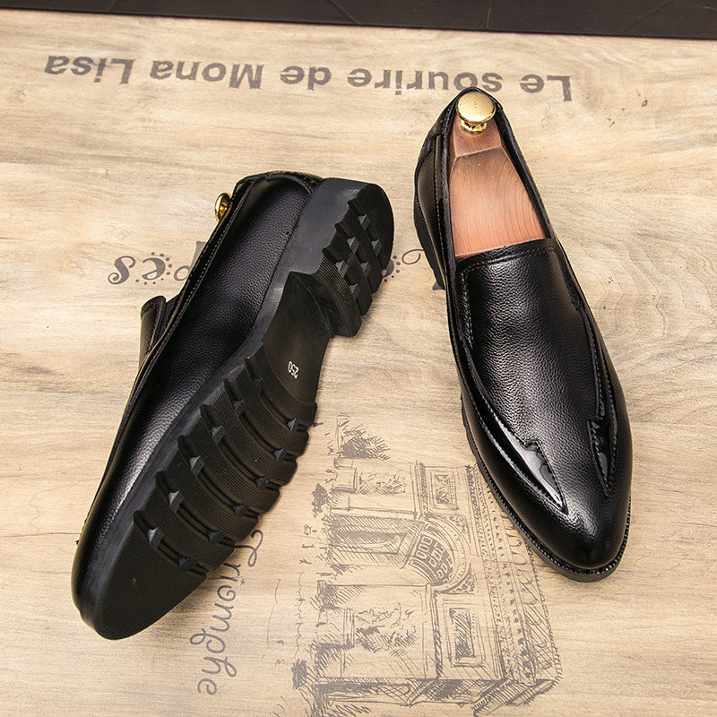 British trend men's casual leather shoes show thin and slim feet men's shoes personality Korean nightclub hairdresser pointed small leather shoes