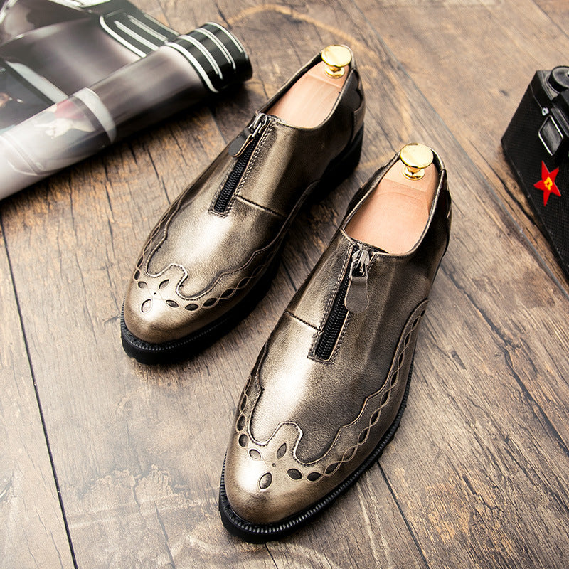 Personalized men's shoes zipper British leather shoes trend all night hairdresser shoes gold men's casual fashion shoes