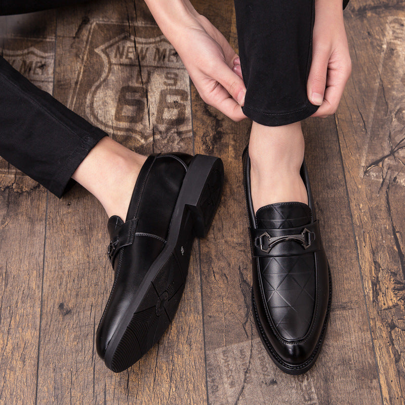 Men's British leather shoes Korean version of the trend youth set-up business casual one foot hairstylist men's shoes