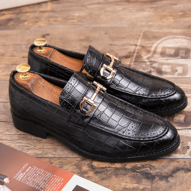 Cross border large autumn British block men's shoes Korean version men's wedding shoes increase business dress casual leather shoes men