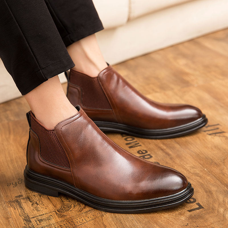19 Autumn Breathable Chelsea Boots Men's High Gang Men's Boots English Leather Boots Martin Boots Men's Mid-Tide Shoes