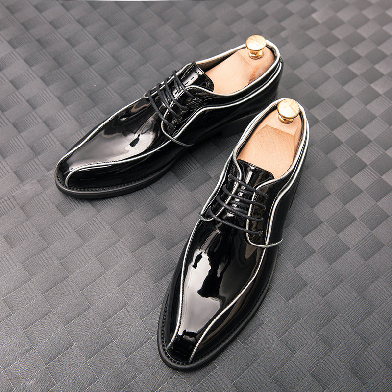 Spring and autumn leather shoes men's English and Korean sharp end patent leather men's fashion shoes business dress casual shiny leather shoes