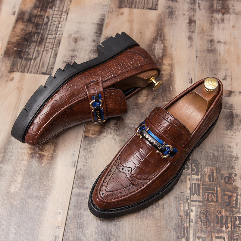 Brock leather shoes men's fall one foot British carved men's business leisure thick bottom high pointed men's shoes