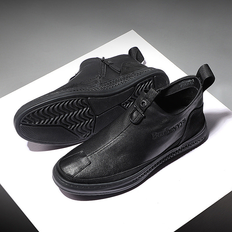 19 autumn new men's shoes casual leather shoes men's zipper set feet Korean version of the hundred-wave shoes