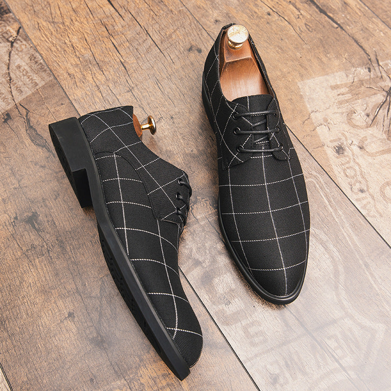 New Men's Lattice Leather Shoes New Men's Lattice Style Business Leisure Top Personality Shoes