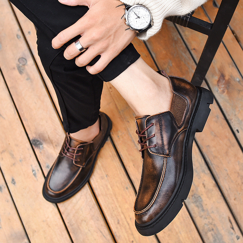 19 autumn breathable men's casual leather shoes men's large British business Korean trend all over block shoes