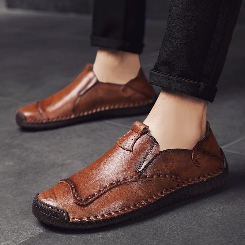 19th autumn new leather shoes men pedaling no shoelace hand-sewn leather shoes lazy big size men's shoes