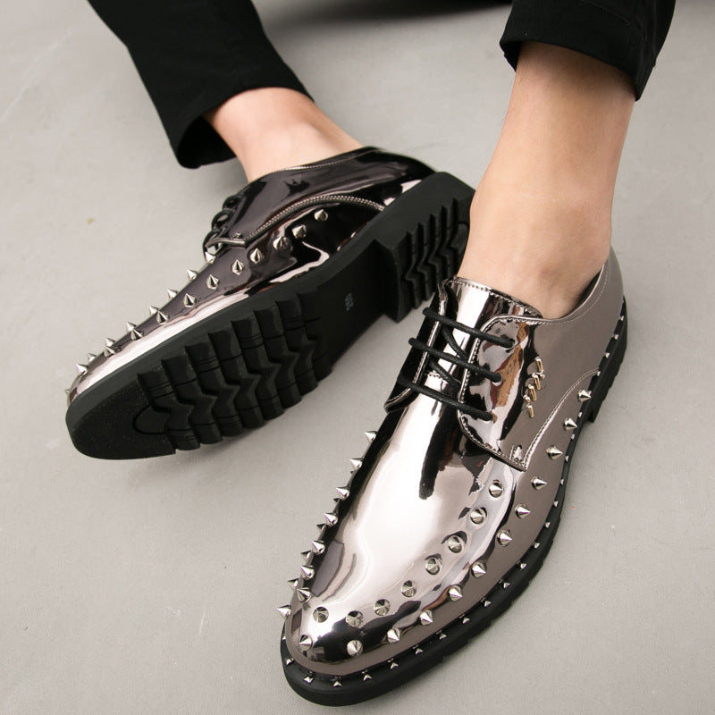 19 Spring and Autumn Men's Casual Leather Shoes High Rivet Shoes Hip-hop Stage Show Bright Leather Brand Fashion Men's Shoes