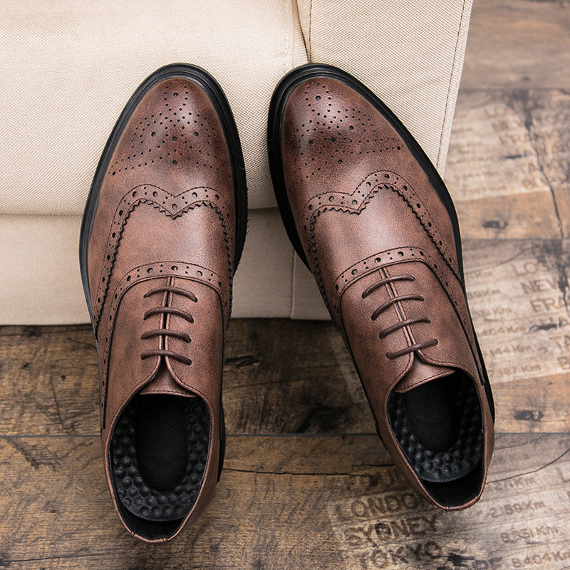19 autumn Brock men's shoes retro carved leather shoes men's British pointy top lace up Korean club fashion leather shoes