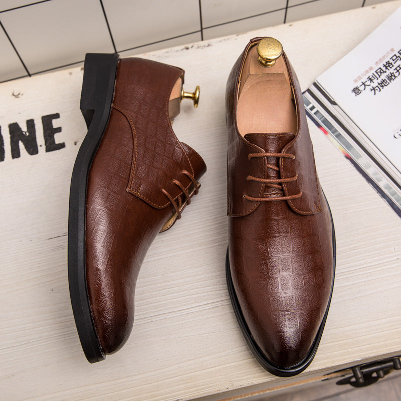 19th Fall Bullock Men's Shoes Korean version British casual business formal dress high-rise leather shoes men's Western dress wedding shoes