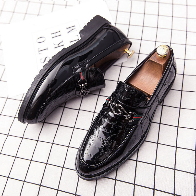 Autumn men's leather shoes men's Korean version of British alligator hairstylist bridegroom's wedding night business men's leather shoes