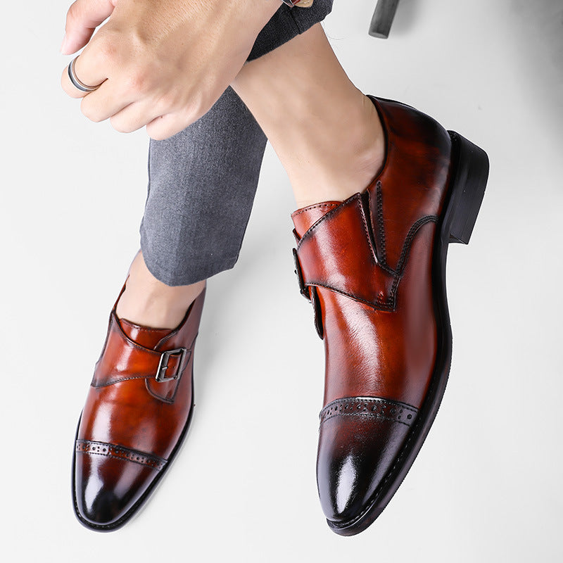 British men's high-end business dress shoes in autumn