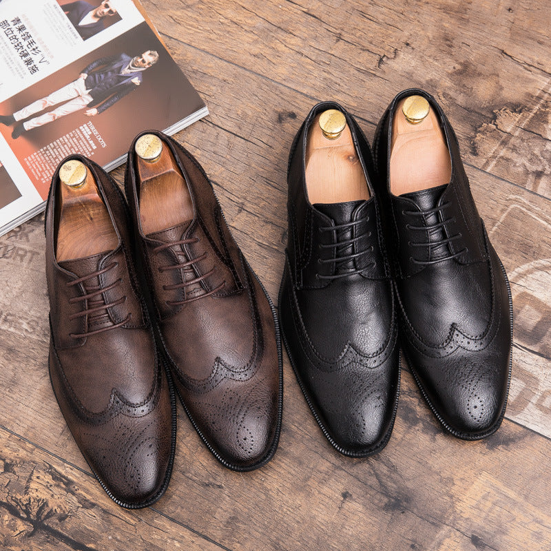 Large casual leather shoes for men 2019 autumn new men's British retro hairdresser fashion shoes for bridegroom wedding shoes