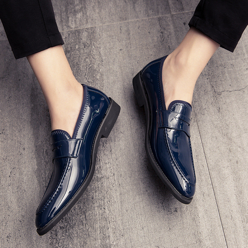 19 autumn British pointed business casual leather shoes paint skin bright face a foot lazy people set of foot mirror large size leather shoes