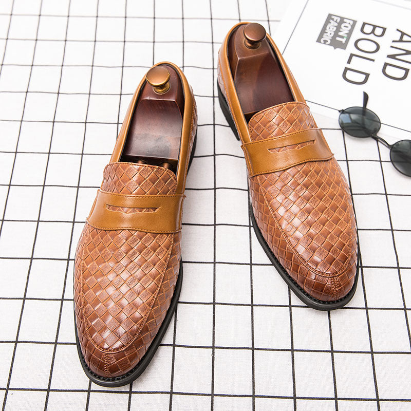 2020 spring new cross-border large size color brushed woven men's leather shoes pointed business set foot casual shoes