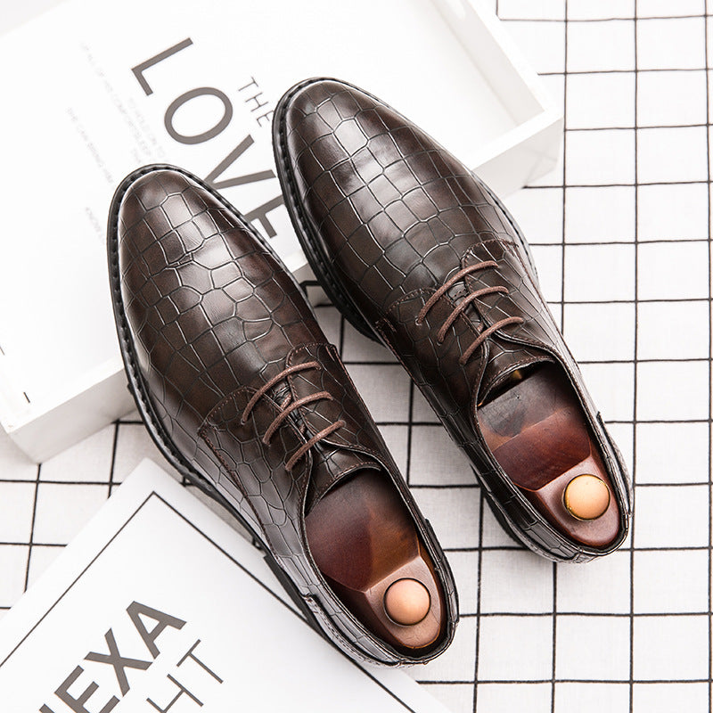 Men's Crocodile Shoes 19 Korean Style Men's Crocodile Shoes British Style Night Shop Hairdresser Business Top Size Shoes