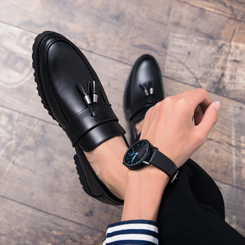 British men's pointed casual leather shoes nightclub hairstylist increases smesand slack shoes retro matching men's shoes
