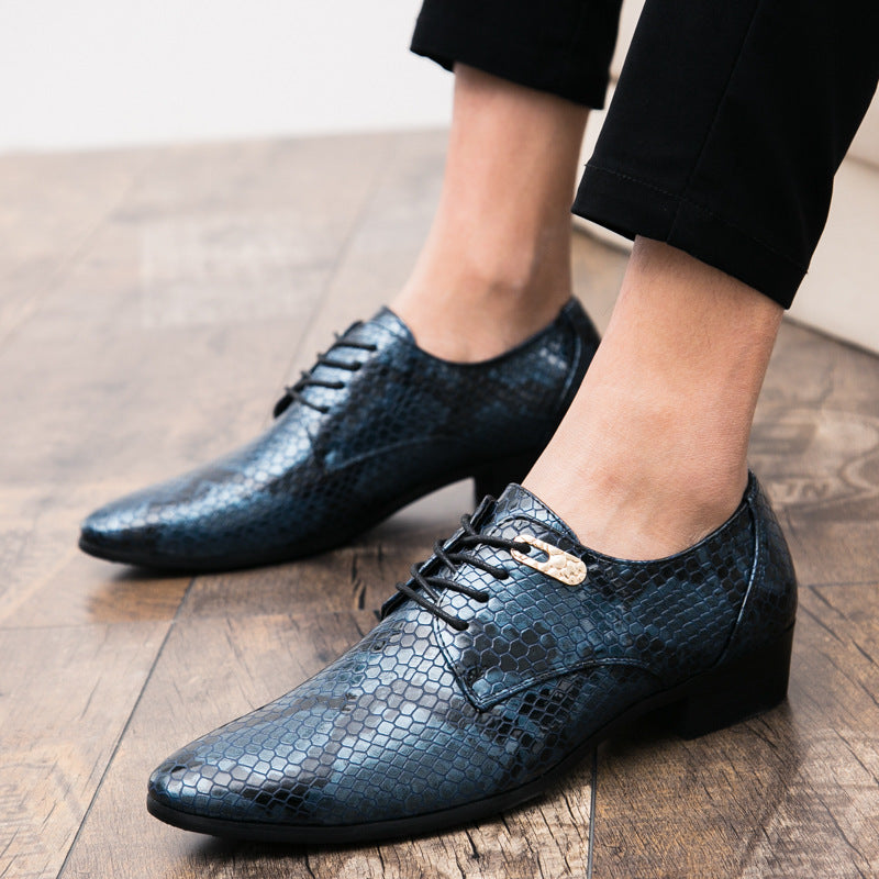 Cross-border foreign trade large size men's British python-print bright-faced fashion leather shoes banquet business casual leather shoes men's shoes