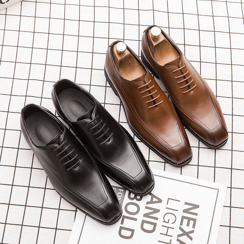 Grand size Men's Retro small leather shoes Korean hair stylist square head men's shoes groom dress wedding shoes