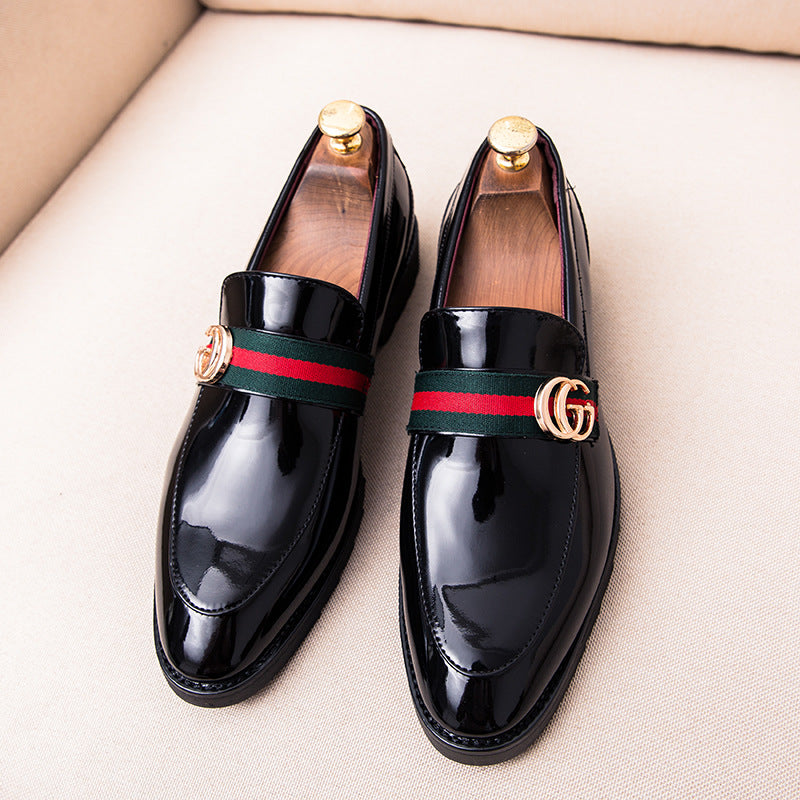 British casual leather shoes, shiny leather cloth strips, metal buttons, TOEFL shoes, new large leather shoes, Korean business men's shoes