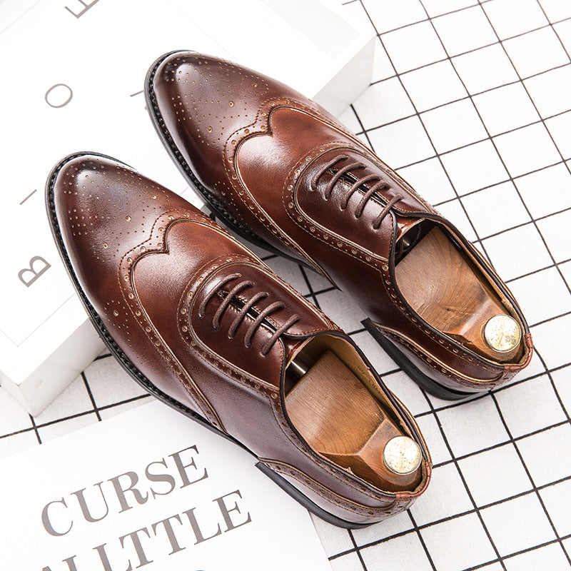 Bullock men's shoes carved retro casual leather shoes men's fashion groom size 47 English wind gentleman Oxford shoes