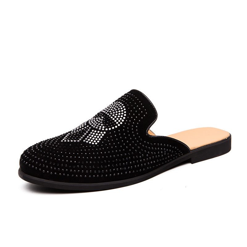 Half slippers men's summer no heels lazy casual shoes water drill