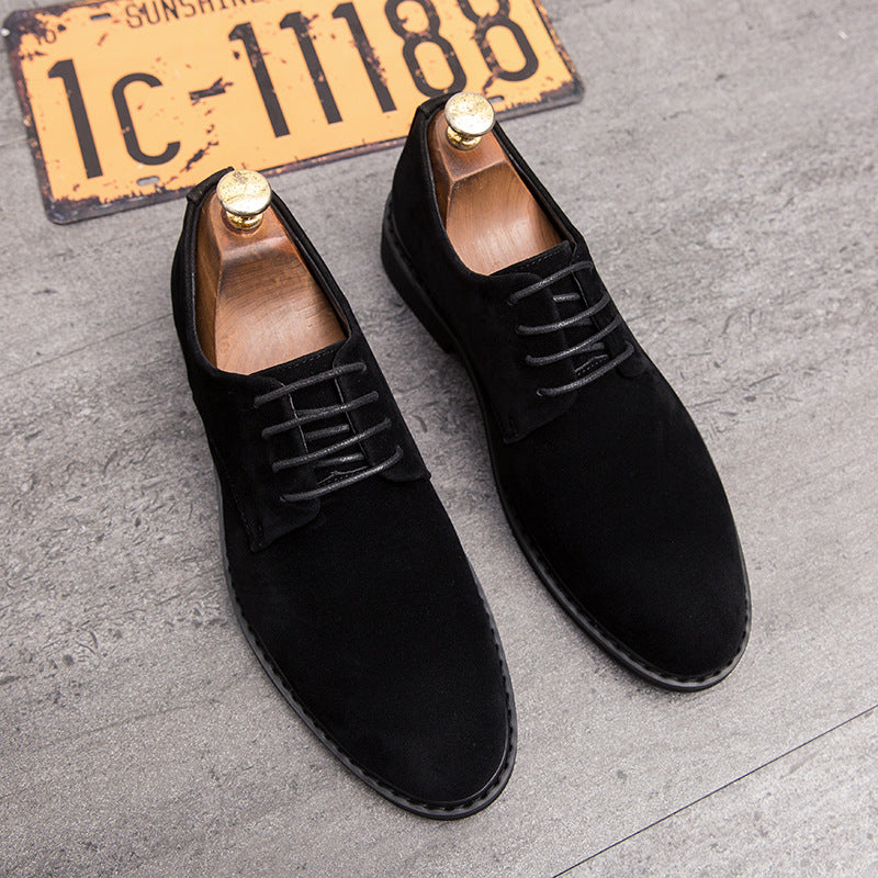 Anti fur business dress round leather shoes men's wear leather shoes men's fu