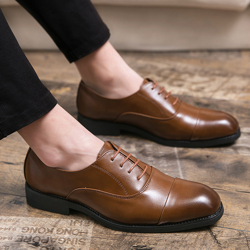 large size three-joint men's leather shoes color system with business dress British pointed small leather shoes one generation.