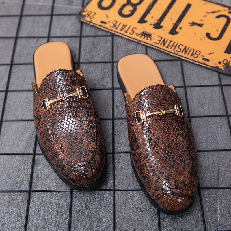 Summer half slippers Korean version of the trend personality outdoor sandals one foot lazy men's shoes outside wearing bag-head small leather shoes