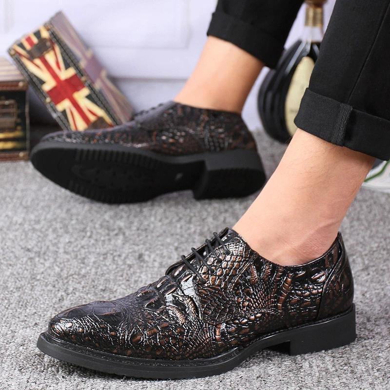 2020 Outdoor | generation season crocodile pattern youth casual tie men's shoes formal England pointed men's wedding shoes