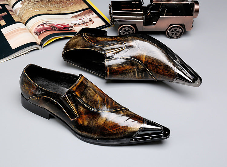 Set foot foreign trade men's shoes fashion personality steel-toed men's shoes trend cowhide low-top shoes shoes leather yellow breathable