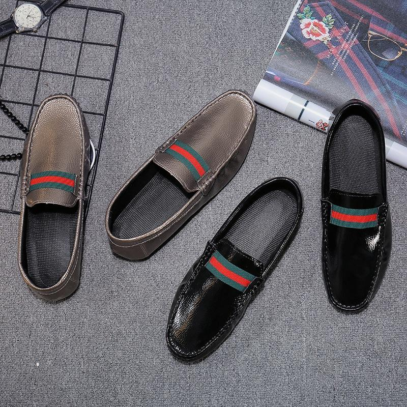 Spring men's black casual peas shoes men's positive code soft leather driving lazy shoes Korean personality male peas shoes