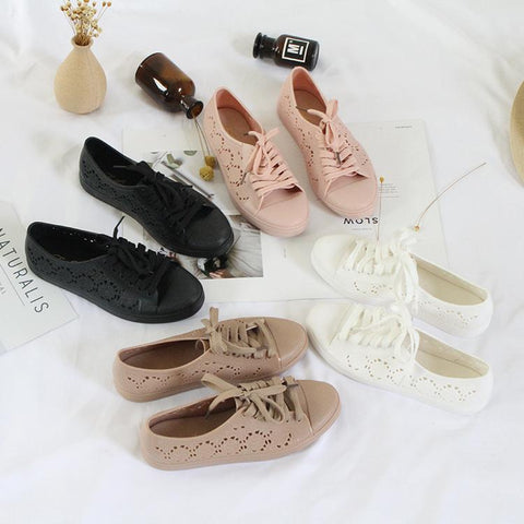 new fashion low-top shoes casual flat solid color hollow strap white shoes