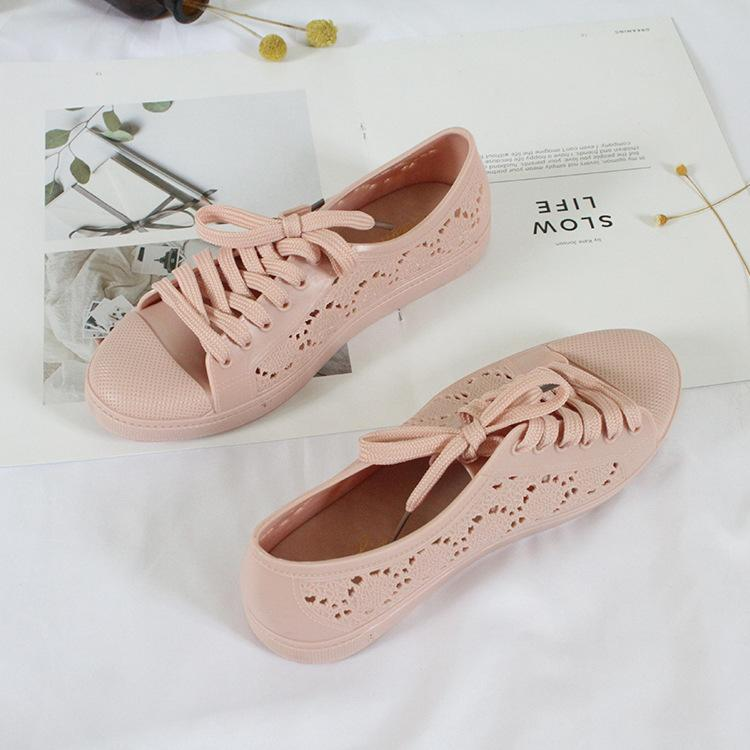 new fashion low-top shoes casual flat solid color hollow strap white shoes 2020