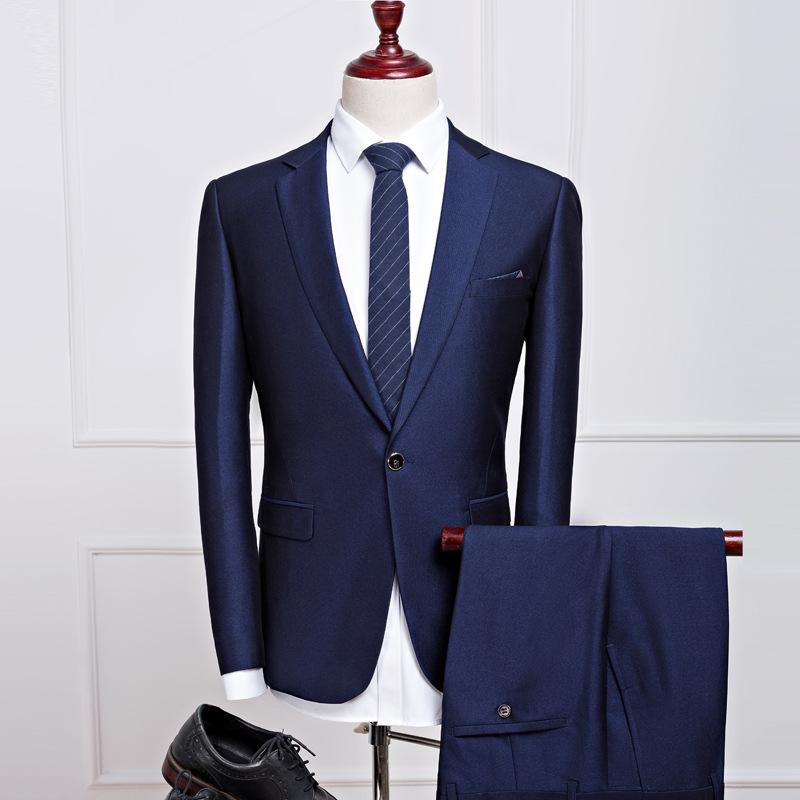 New suit set two pieces business casual suit formal coat trend slimming groom wedding Evening Dress
