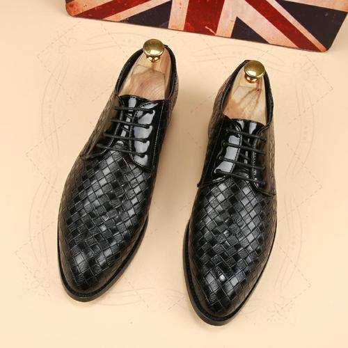 men's leather shoes men's plaid business casual shoes