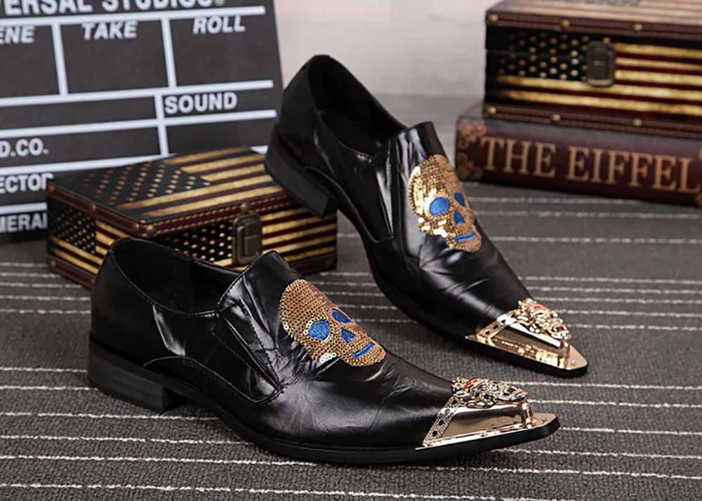 Shantou Metal Decoration Pure Black Belt With Personality Trend Business Casual Men'S Shoes Leather Red Fashion Hairdresser Shoe