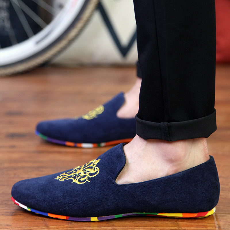 2019 summer men's casual shoes canvas shoes men's trend lazy shoes Korean version of the British set of feet peas cloth shoes men