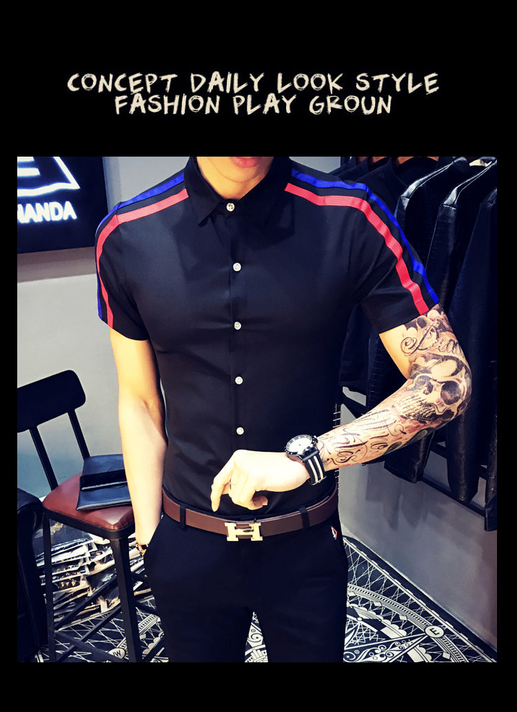 Men's Summer Short Sleeve Shirt Double Ribbon Shirt Slim Shirt