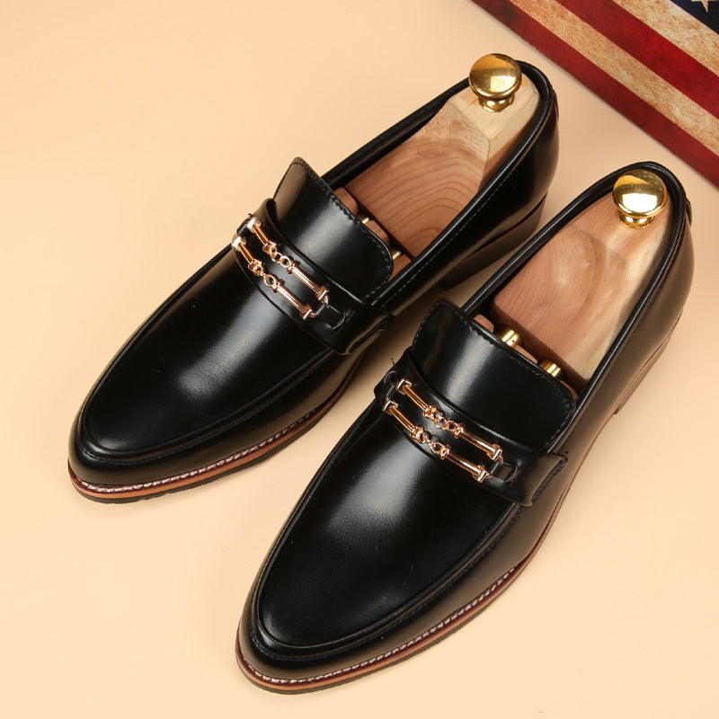 Male England black leather shoes