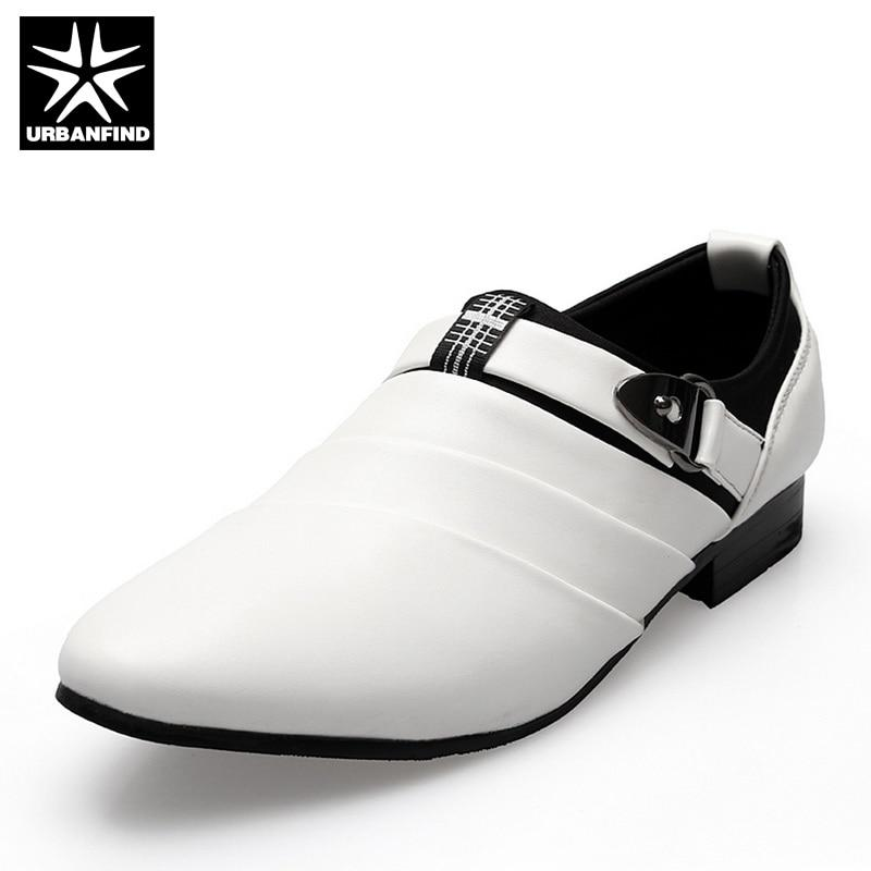 URBANFIND Business Men Formal Shoes Black / White Man Oxfords EU 39-44 Latest Style Pointed Toe Slip On Men Fashion Flats