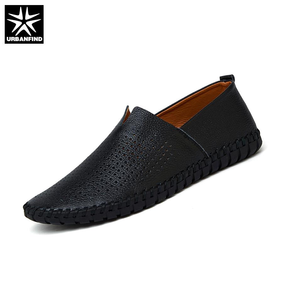 URBANFIND Summer Style Men Leather Loafers Slip-on Shoes Big Size 38-47 Hollow Design Man Breathable Casual Flats