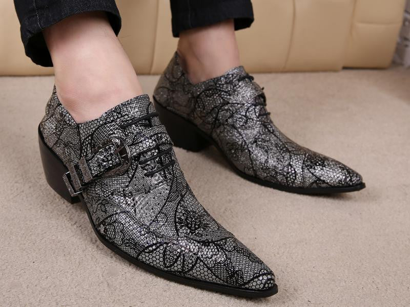 TnVDesigner Printing leather oxford men shoes high heel pointed toe lace up fashion buckle design mens wedding shoes casual party shoes 38