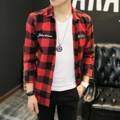 Red Plaid Men Shirts