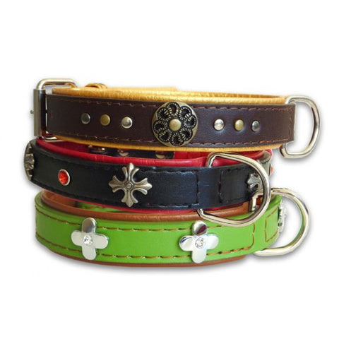 The Paws Ornament Leather Collar (Small/Medium)