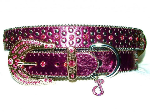 Jewelled Amethyst Leather Dog Collar