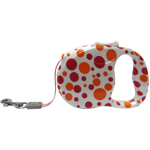 Retractable Lead Medium - Spotty Red & Yellow
